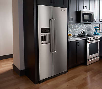 Kitchenaid Refrigerator Side By Side 22.7 cu. ft. counter depth side-by-side refrigerator with exterior