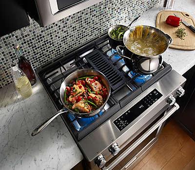 Kitchenaid Kdss907sss 30-inch 4-burner dual fuel downdraft slide-in range (ksdg950ess