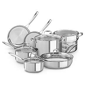 Product Bundle - Stainless Steel Polished 10-Piece Set with Stainless Steel Pasta Insert