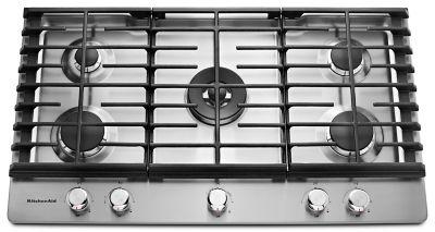 36u0027u0027 5-Burner Gas Cooktop (KCGS556ESS) | kitchenaid®
