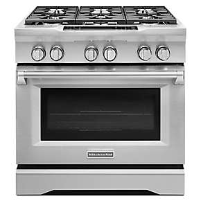 36'' 6-Burner Dual Fuel Slide-In Range, Commercial-Style