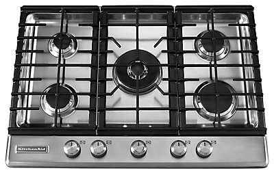 Kitchenaid Gas Stoves 5 burner gas cooktop kfgs306vss kitchenaid