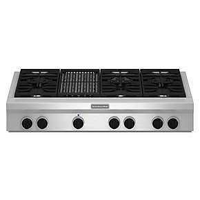 48-Inch 6 Burner with Grill, Gas Rangetop, Commercial-Style
