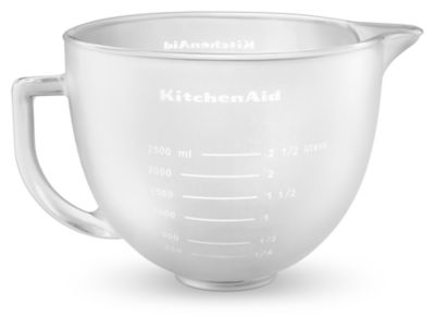 5 Qt. Tilt Head Frosted Glass Bowl With Measurement Markings U0026 Lid