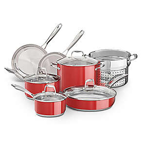 Product Bundle - Stainless Steel 10-Piece Set in Empire Red with Stainless Steel Pasta Insert
