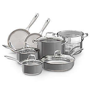 Product Bundle - Stainless Steel 10-Piece Set in Liquid Graphite with Stainless Steel Pasta Insert