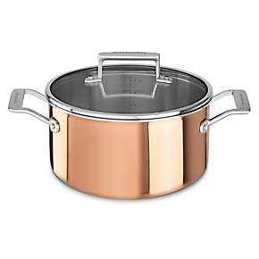 Tri-Ply Copper 6-Quart Low Casserole with Lid