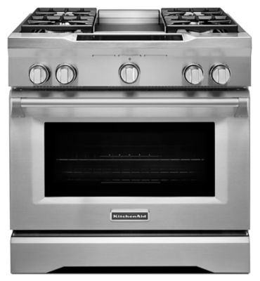 stove white. 36\u0027\u0027 4-burner with griddle, dual fuel freestanding range, commercial- stove white