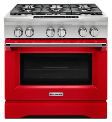 36u0027u0027 6 Burner Dual Fuel Freestanding Range, Commercial Style (KDRS467VSD) |  Kitchenaid®