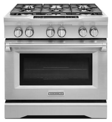 Kitchenaid 6 Burner Gas Cooktop 36'' 6-burner dual fuel slide-in range, commercial-style