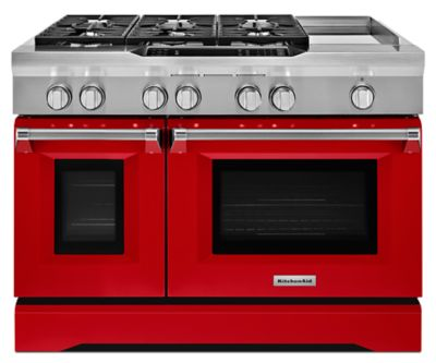 48u0027u0027 6 Burner With Griddle, Dual Fuel Freestanding Range, Commercial Style  (KDRS483VSD) | Kitchenaid®