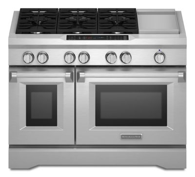 kitchenaid 48 inch range. 48\u0027\u0027 6-burner with griddle, dual fuel freestanding range, commercial-style (kdrs483vss) | kitchenaid® kitchenaid 48 inch range kitchenaid