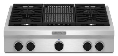 36-Inch 4 Burner with Grill, Gas Rangetop, Commercial-Style ...