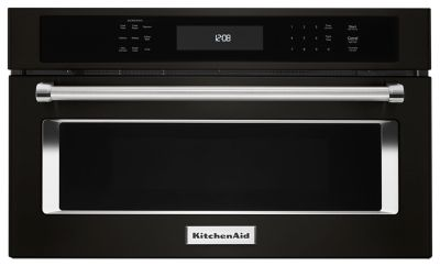 "36"" 4 burner black stainless built-in microwave kmbp100ebs kitchenaid"