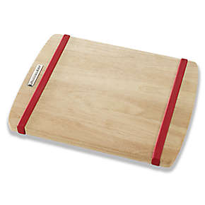 11 inch X 14 inch Wood  Cutting Board with Red Non-slip Bands