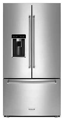 "Kitchenaid Refrigerator Black Stainless 25.8 cu. ft. 36"" multi-door freestanding refrigerator with"