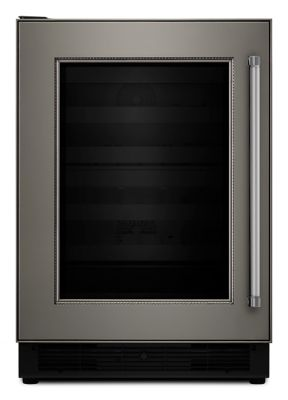"Kitchenaid Wine Fridge 24"" panel ready wine cellar with glass door and wood-front racks"